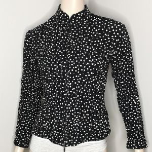 Cartise Ruched Clear Sequined Two Way Zip Blouse